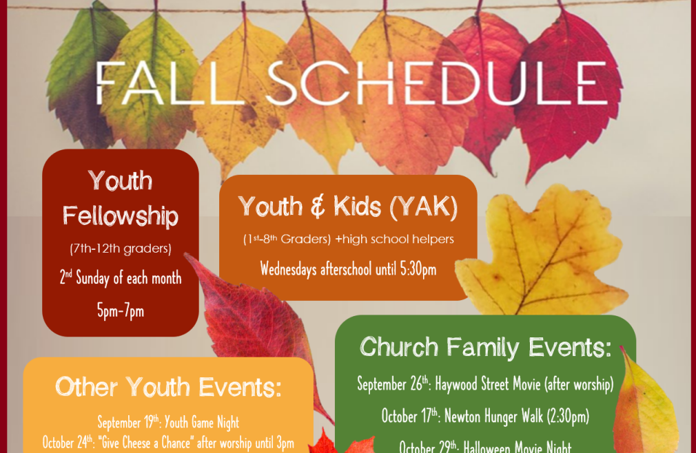 Youth Fall Schedule